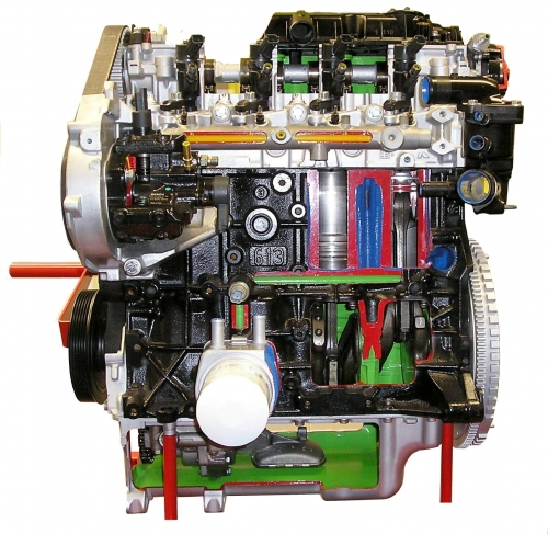 Sectioned diesel engine